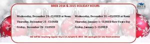 BREB Holiday Hours 2014