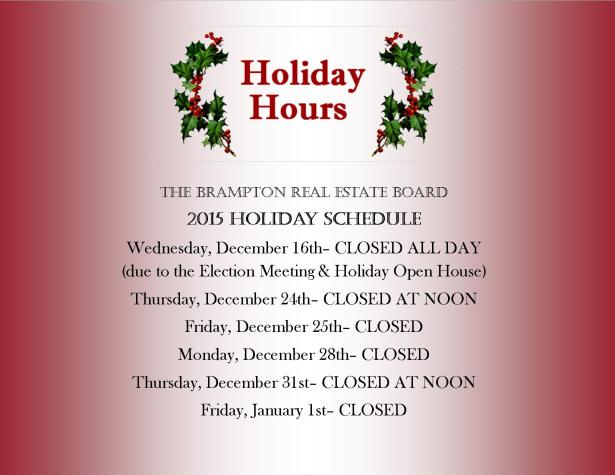 2015 HOLIDAY SCHEDULE